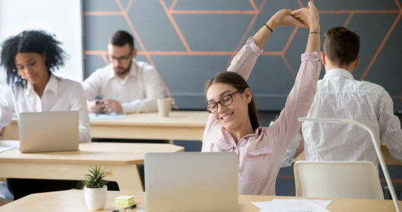 How to reduce stress at work by easy stretching exercise